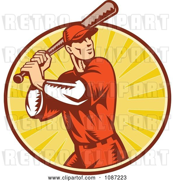 Vector Clip Art of Retro Baseball Player Batting over Rays