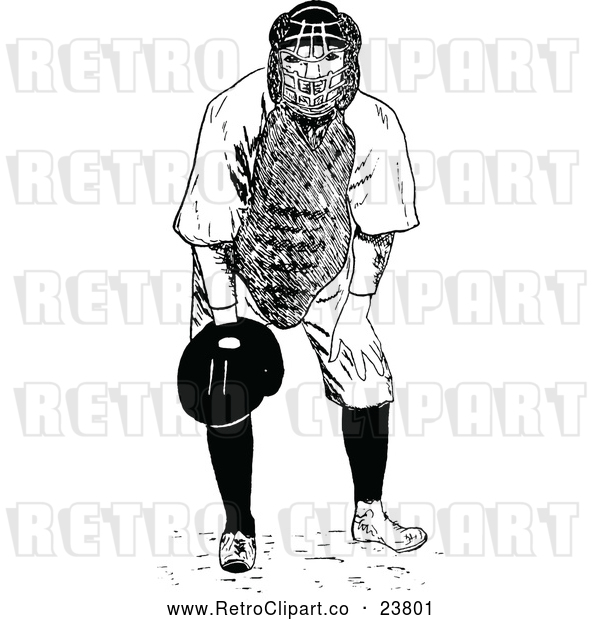 Vector Clip Art of Retro Baseball Player Catcher
