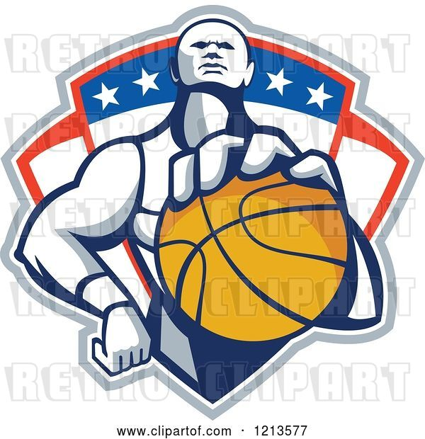 Vector Clip Art of Retro Basketball Player Holding a Ball over a Patriotic Shield