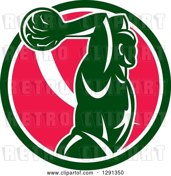 Vector Clip Art of Retro Basketball Player Jumping for a Slam Dunk over a Green White and Pink Circle
