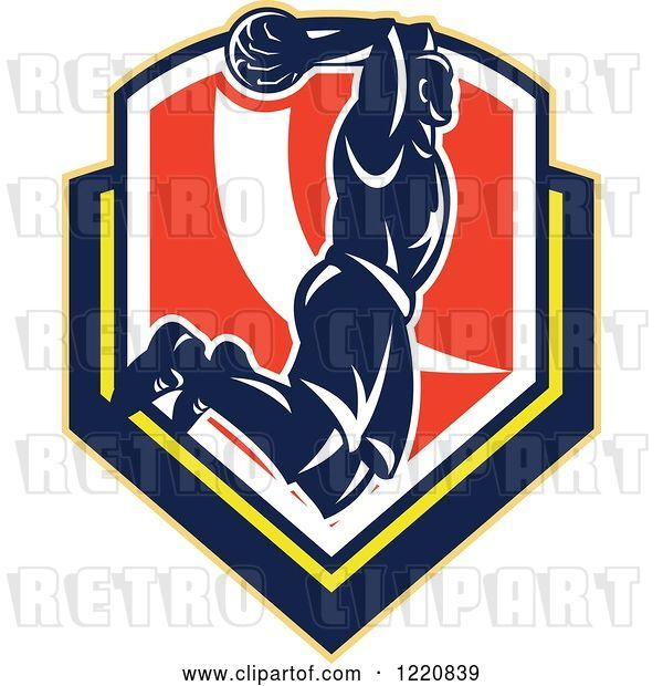 Vector Clip Art of Retro Basketball Player Jumping for a Slam Dunk over a Shield
