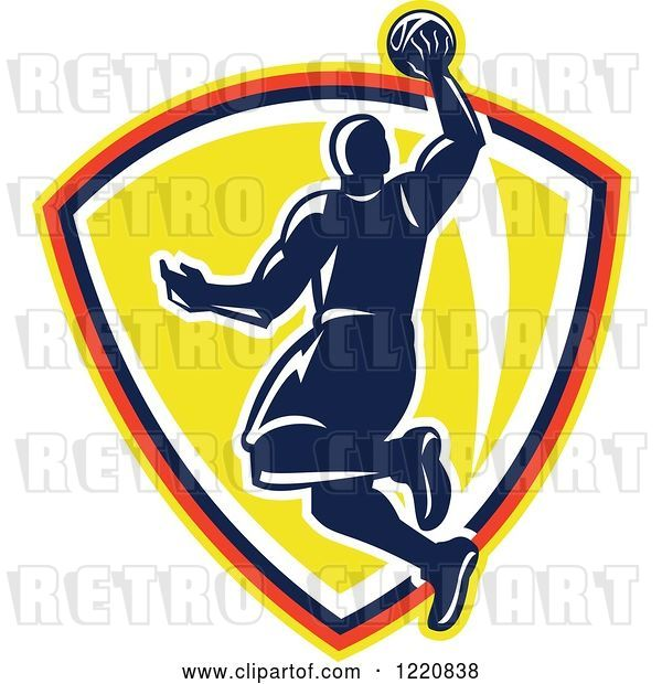 Vector Clip Art of Retro Basketball Player Jumping for a Slam Dunk over a Yellow Shield