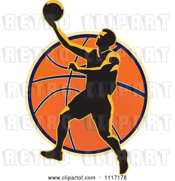 Vector Clip Art of Retro Basketball Player over a Ball