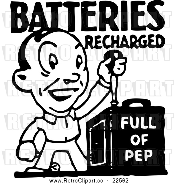 Vector Clip Art of Retro Batteries Recharged Man