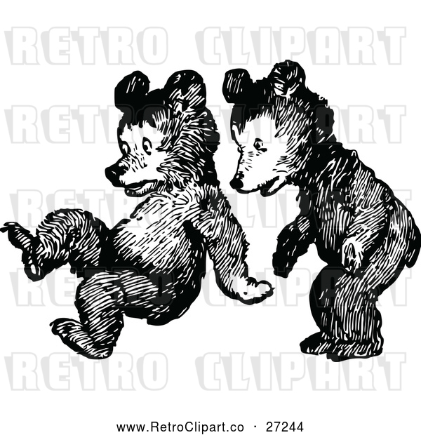 Vector Clip Art of Retro Bear Cubs Playing
