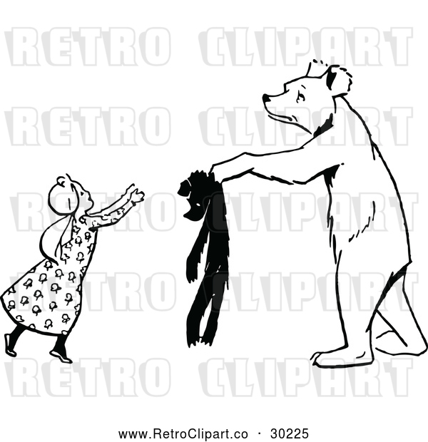 Vector Clip Art of Retro Bear Handing a Girl a Teddy