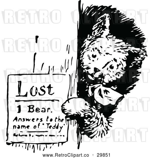 Vector Clip Art of Retro Bear Posting a Lost Sign