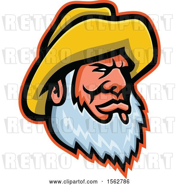 Vector Clip Art of Retro Bearded Senior Fisher Man Wearing a Yellow Bucket Hat