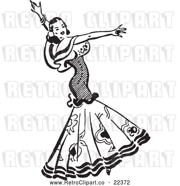 Vector Clip Art of Retro Beautiful Mexican Flaminco Dancer