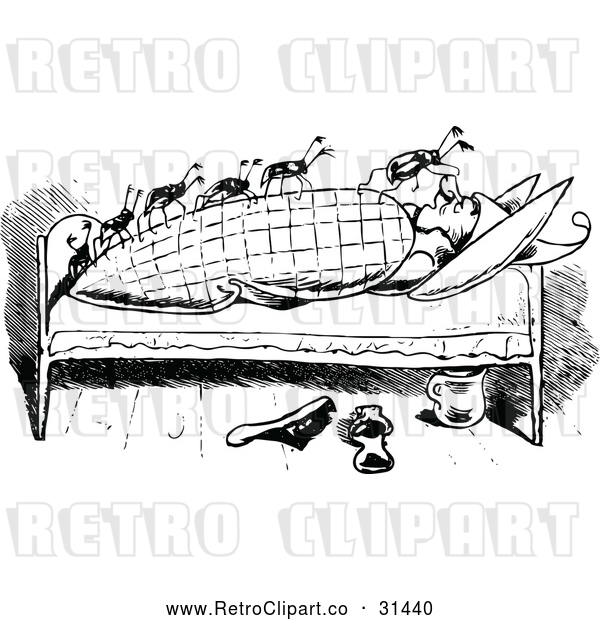 Vector Clip Art of Retro Bed Bugs Attacking a Man 1