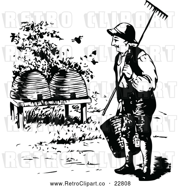 Vector Clip Art of Retro Beekeeper Approaching Hives