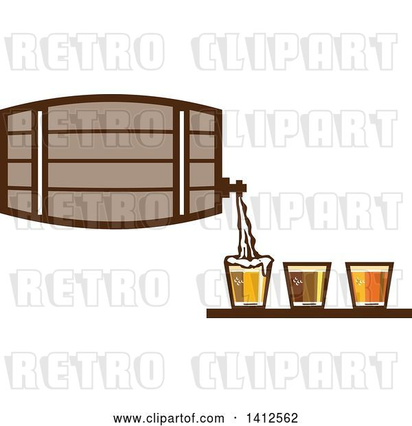 Vector Clip Art of Retro Beer Keg Barrel Pouring Light, Dark and Ale into Glasses