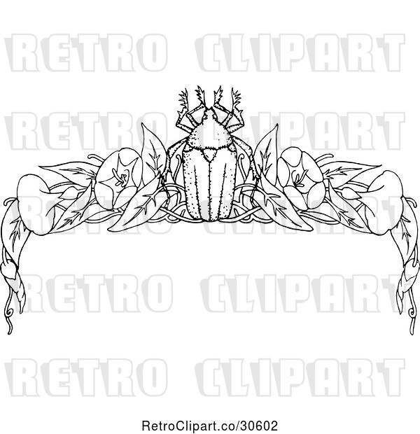 Vector Clip Art of Retro Beetle and Floral Page Border 2