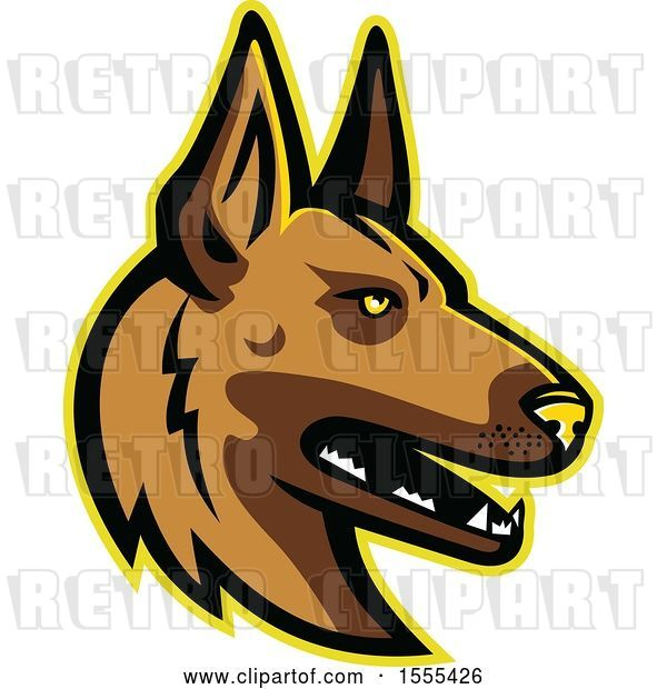 Vector Clip Art of Retro Belgian Malinois Dog Mascot Head