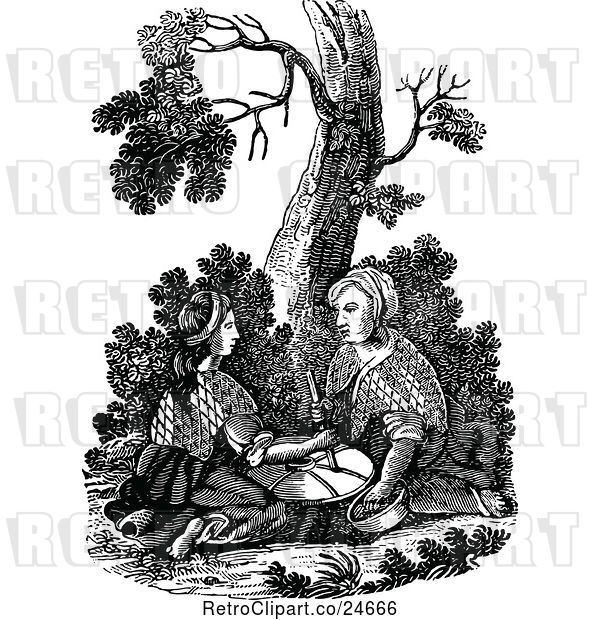 Vector Clip Art of Retro Biblica Scene of Two Women Grinding at the Mill Matthew 24v41