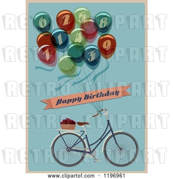 Vector Clip Art of Retro Bicycle and Balloon Happy Birthday Greeting on Blue