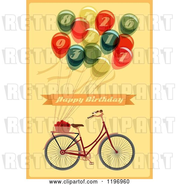 Vector Clip Art of Retro Bicycle and Balloon Happy Birthday Greeting on Yellow
