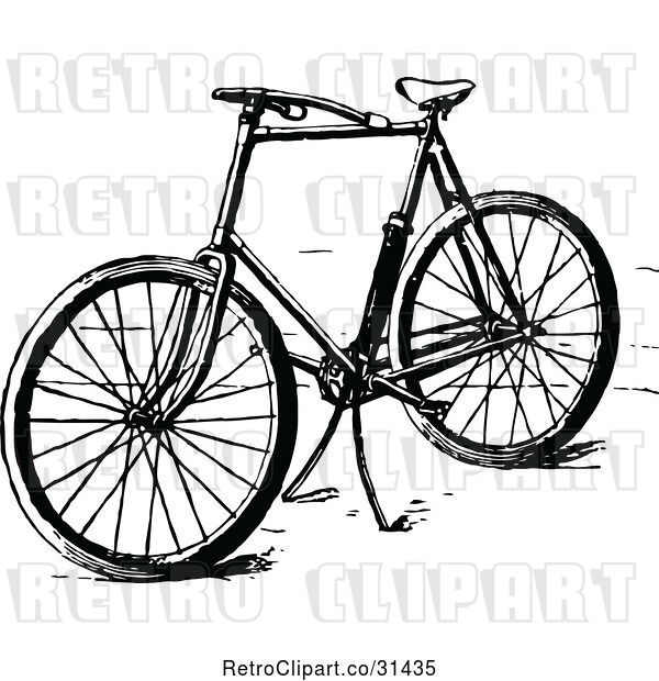 Vector Clip Art of Retro Bicycle with a Stand
