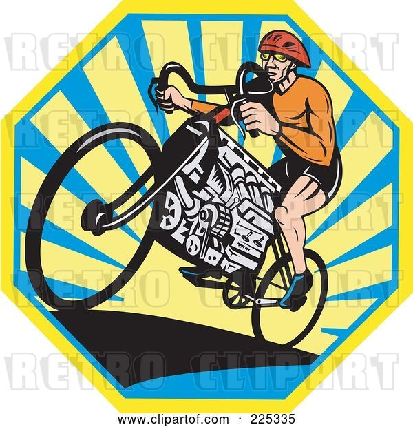 Vector Clip Art of Retro Bicyclist Riding a V8 Engine Bike over an Octogan of Rays