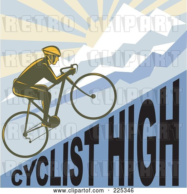 Vector Clip Art of Retro Bicyclist Riding up a Cyclist High Hillside