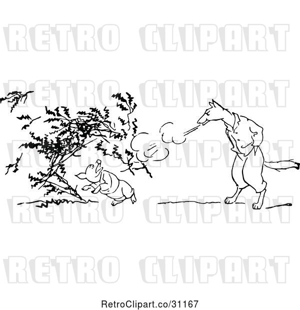 Vector Clip Art of Retro Big Bad Wolf Blowing down a Pigs House of Twigs