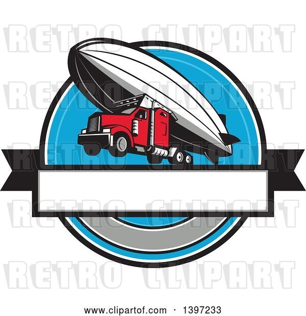 Vector Clip Art of Retro Big Rig Truck Flying, Attached to a Zeppelin Blimp