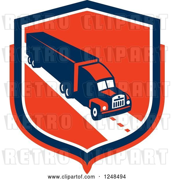 Vector Clip Art of Retro Big Rig Truck Trailer in a Red Shield