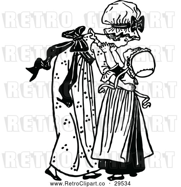Vector Clip Art of Retro Big Sister Picking up a Girl