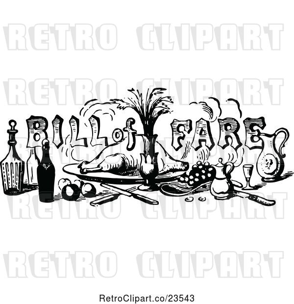 Vector Clip Art of Retro Bill of Fare Text over Food and Beverages 1
