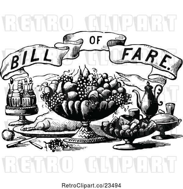 Vector Clip Art of Retro Bill of Fare Text over Food and Beverages 2