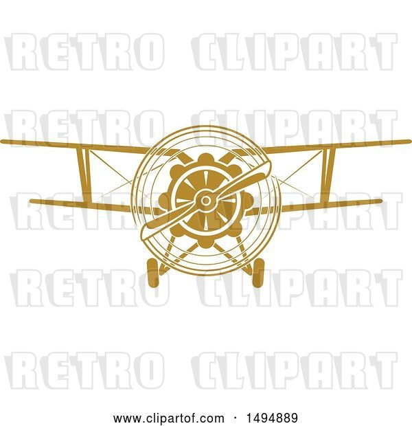 Vector Clip Art of Retro Biplane