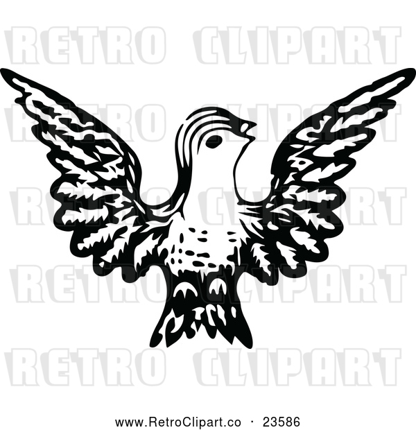 Vector Clip Art of Retro Bird 1