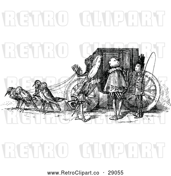 Vector Clip Art of Retro Bird Drawn Carriage