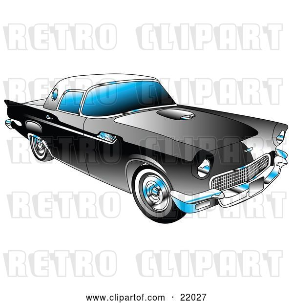 Vector Clip Art of Retro Black 1955 Ford Thunderbird Car with a White Removable Fiberglass Top and Chrome Accents
