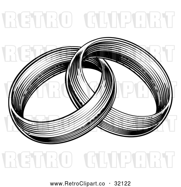 Vector Clip Art of Retro Black and White Entwined Wedding Rings