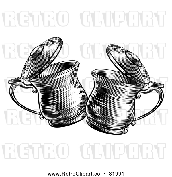 Vector Clip Art of Retro Black and White Tankards Chinking Together