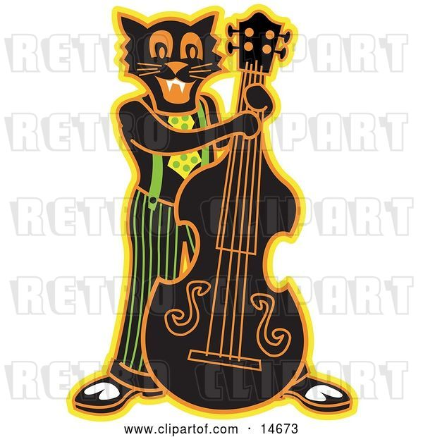 Vector Clip Art of Retro Black Cat Playing a Bass Fiddle in a Band Clipart Illustration