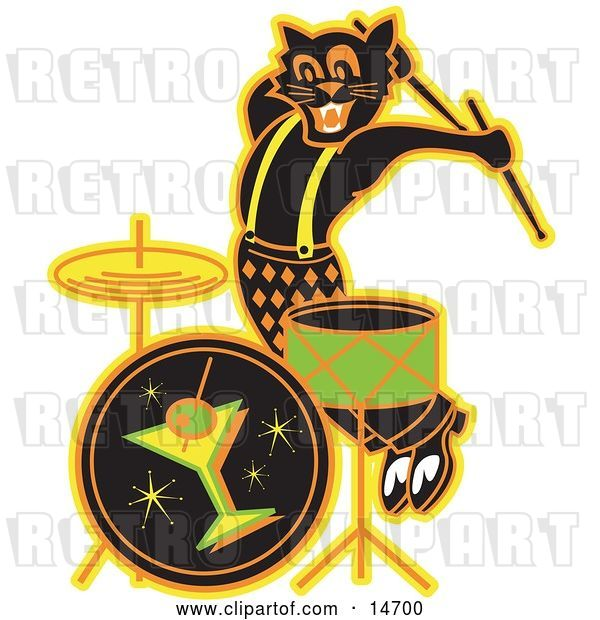 Vector Clip Art of Retro Black Cat Playing the Drums While Entertaining at a Bar Clipart Illustration