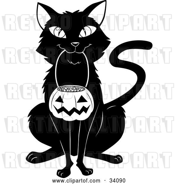 Vector Clip Art of Retro Black Cat Sitting and Carrying a Pumpkin Basket Full of Candy Corn in Its Mouth on Halloween