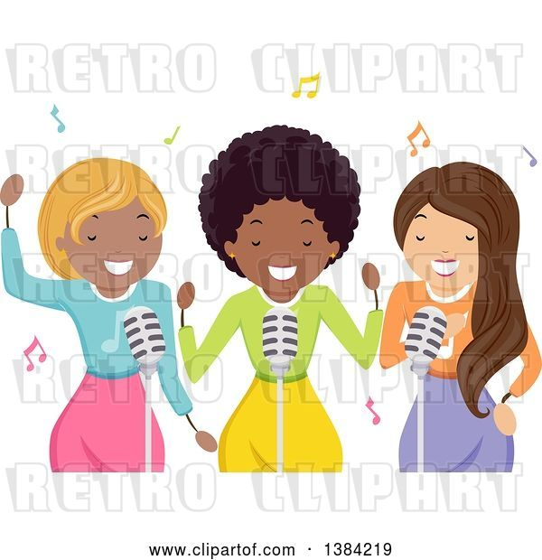 Vector Clip Art of Retro Black Female Musician and Backup Singers