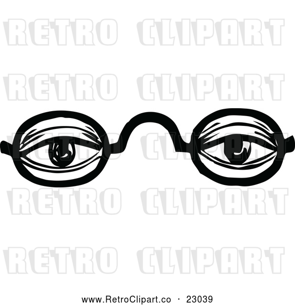 Vector Clip Art of Retro Black Frame Glasses with an Educated Senior Person's Eyes Looking Through the Lenses