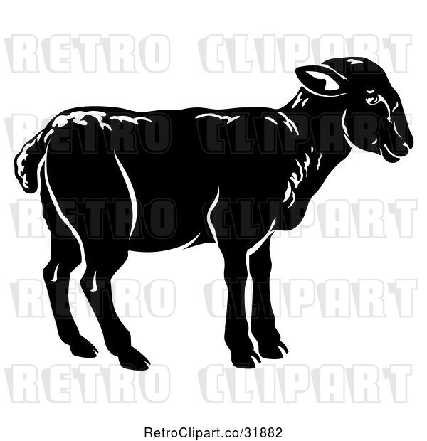 Vector Clip Art of Retro Black Lamb in Profile