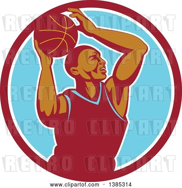 Vector Clip Art of Retro Black Male Basketball Player Doing a Layup in a Red White and Blue Circle