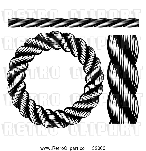 Vector Clip Art of Retro Black Nautical Rope - Digital Collage