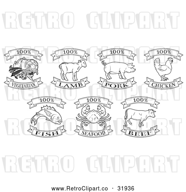 Vector Clip Art of Retro Black One Hundred Percent Vegetarian, Lamb, Pork, Chicken, Fish, Seafood and Beef Labels