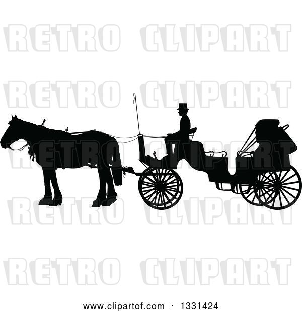 Vector Clip Art of Retro Black Silhouetted Coachman Sitting on a Horse Drawn Buggy Carriage, in Profile