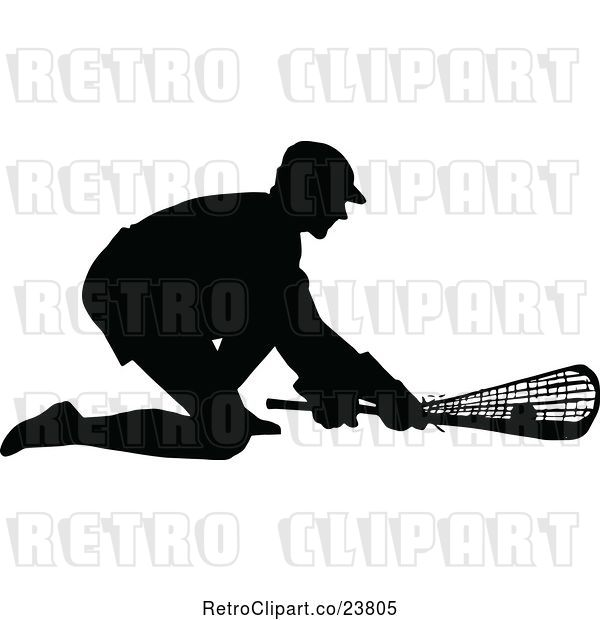 Vector Clip Art of Retro Black Silhouetted Lacrosse Player