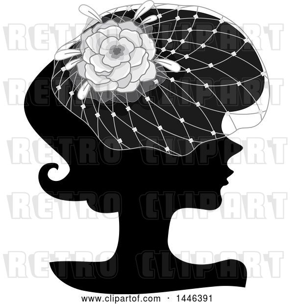 Vector Clip Art of Retro Black Silhouetted Profiled Lady Wearing a Floral Net Headdress