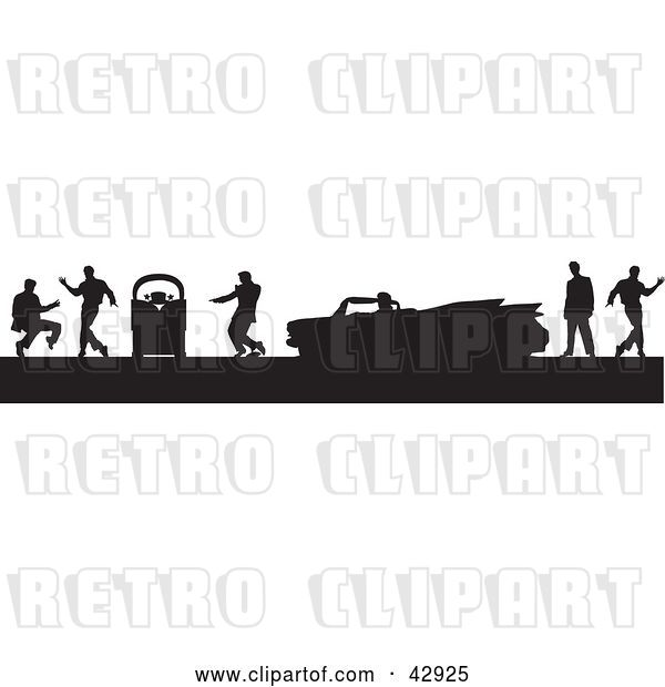 Vector Clip Art of Retro Black Silhouetted Scene of Men Dancing Around a Jukebox and Convertible Cadillac