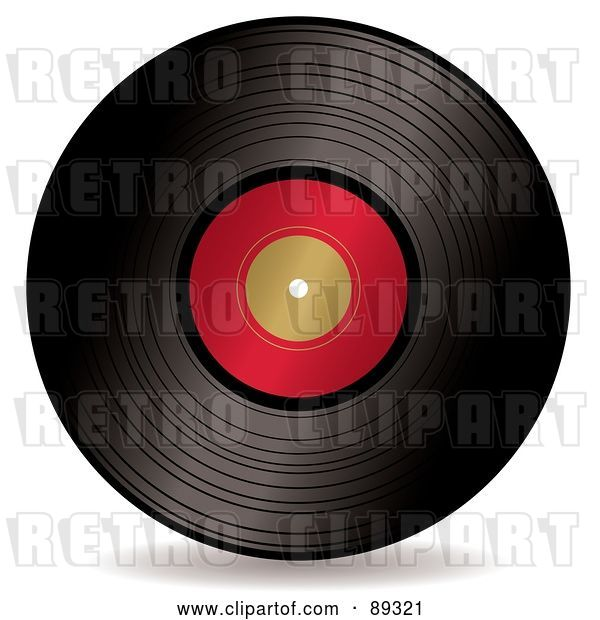 Vector Clip Art of Retro Black Vinyl Record with a Blank Red Label